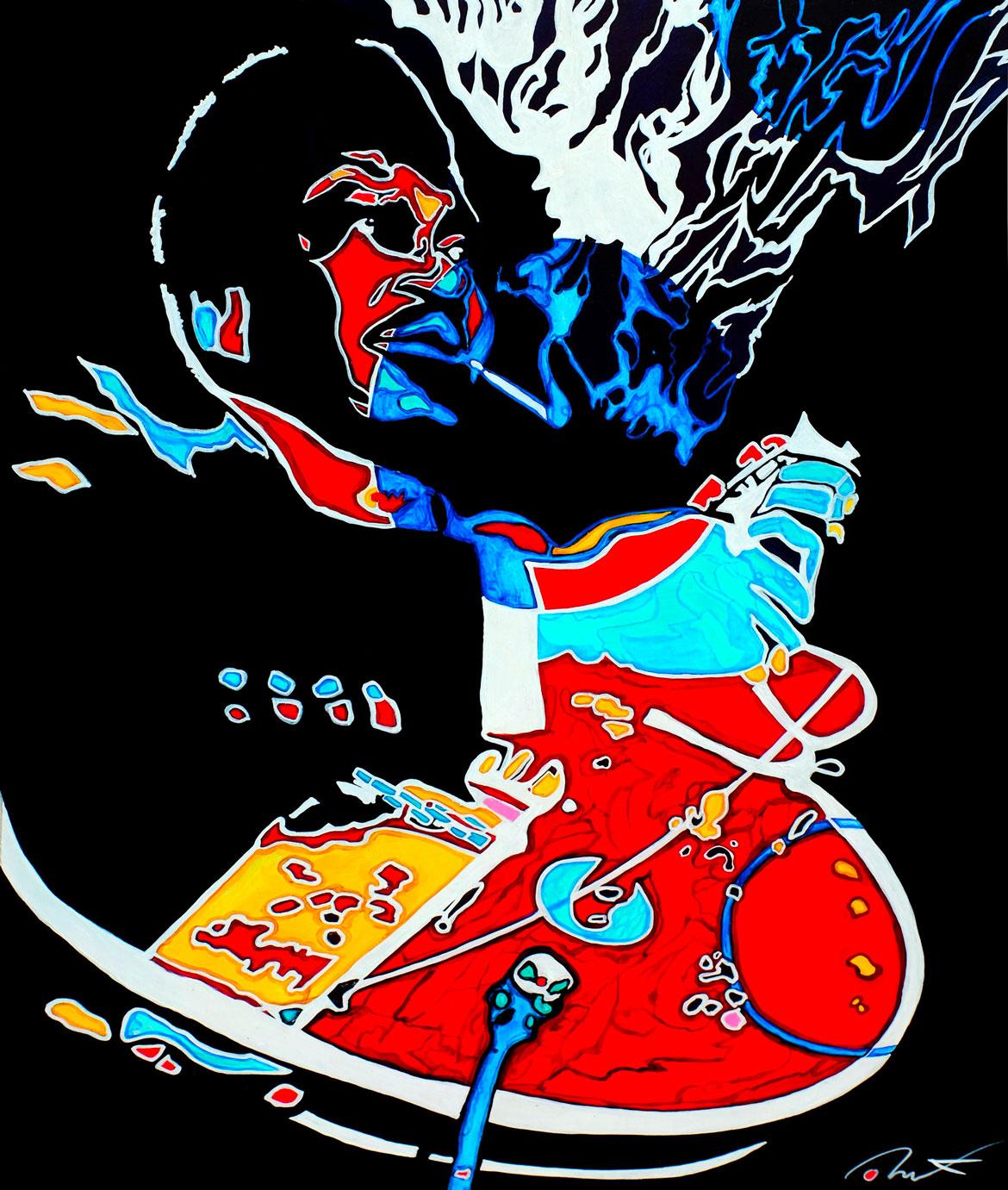 """BB.king """"Riding with the king"""" Acrylique sur panneau alvéolaire 73x 58"""