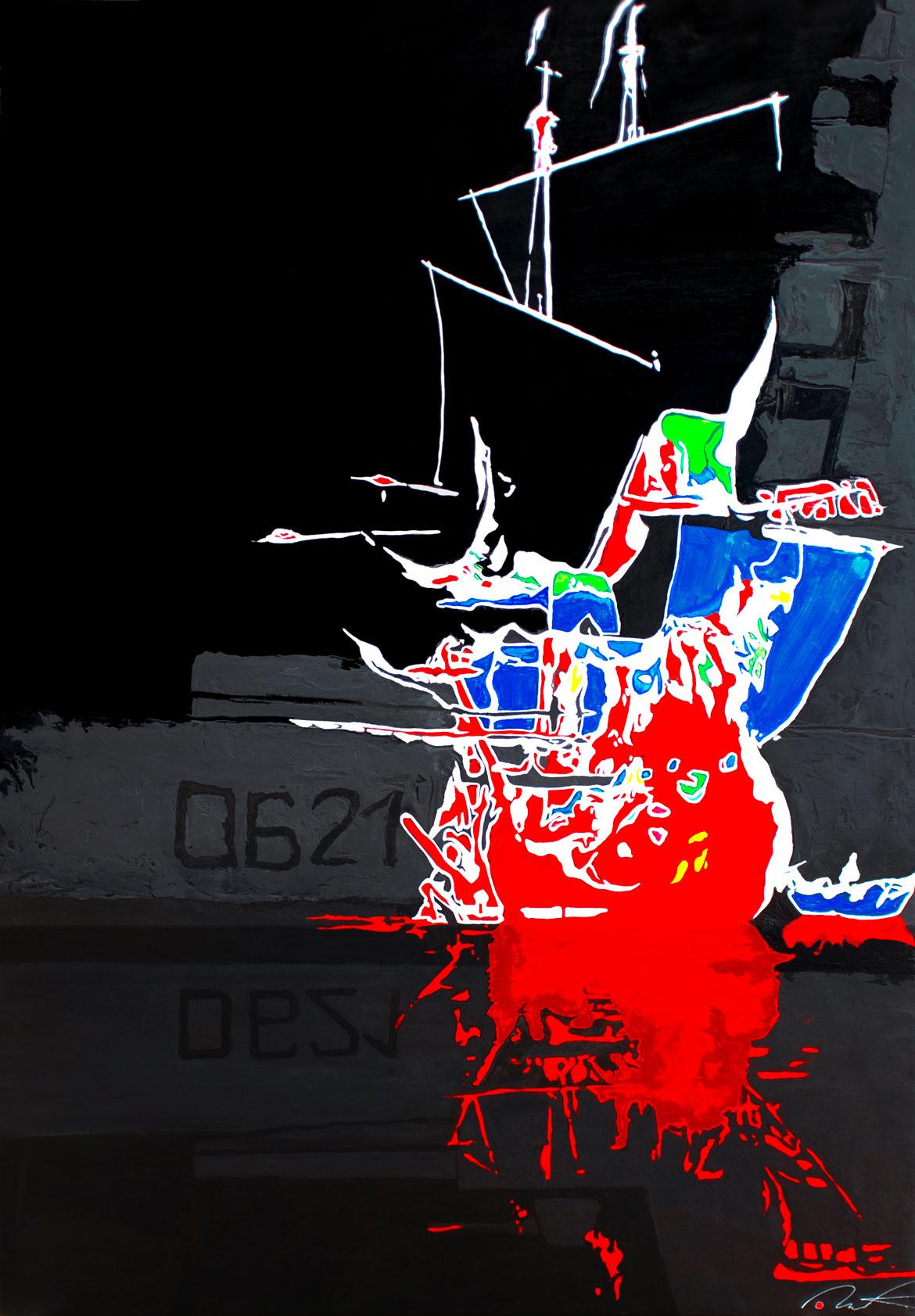 Une nuit au musée : rendez-vous Anachronique pour le Chevalier Paul Acrylique sur panneau alvéolaire 83x120