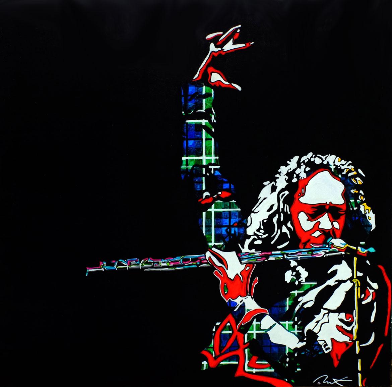 live on stage Ian Anderson - Jethro Tull «Aqualung my friend…»Acrylique sur panneau alvéolaire 83 x 83