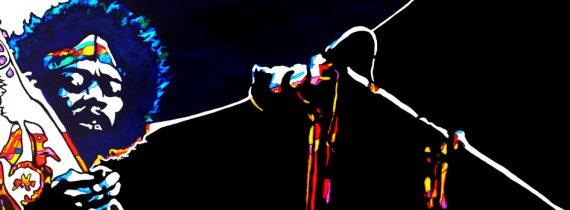 live on stage Jimi Hendrix «Purple Haze «at woodstock Acrylique sur panneau alvéolaire 102 x32