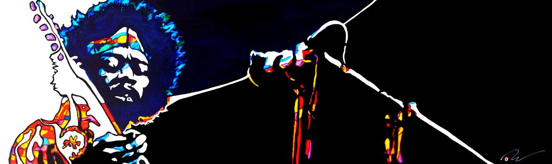 Jimi Hendrix «Purple Haze «at woodstock Acrylique sur panneau alvéolaire 102 x32