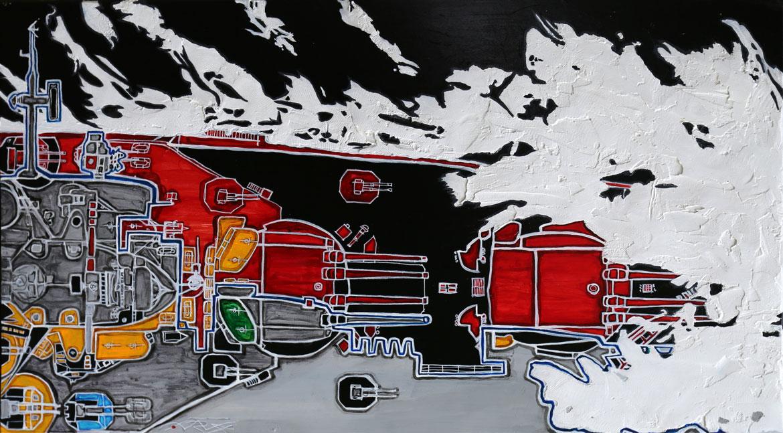 Le Richelieu Acrylique sur panneau alvéolaire 73x40