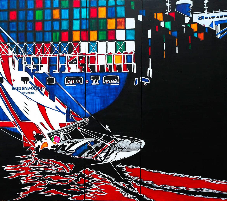 Eugen & Pen Duick Marine acrylique sur panneau alvéolaire 166x150