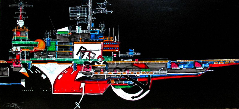 Foch & Clémenceau Marine acrylique sur panneau alvéolaire 83x38