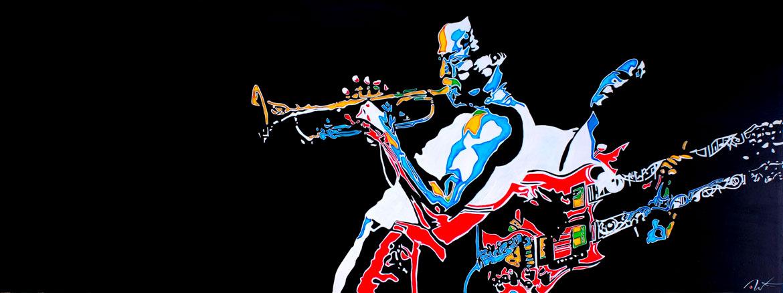 live on stage Miles Davis and John Mclaughlin «Right off» A tribute to jack Johnson Acrylique sur panneau alvéolaire 205 x 73