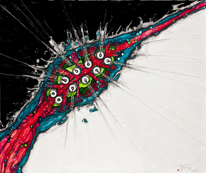 abstractions interstellaires Acrylique sur panneau alvéolaire
