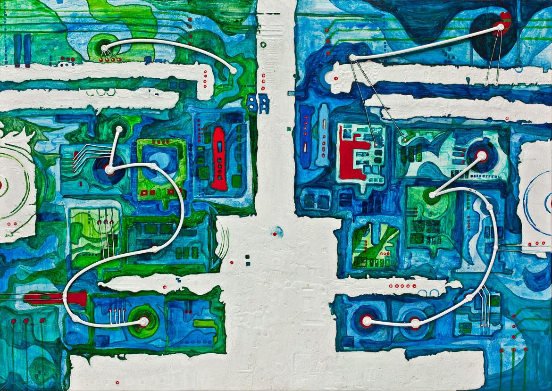 Electronic dreams abstractions interstellaires Acrylique sur panneau alvéolaire