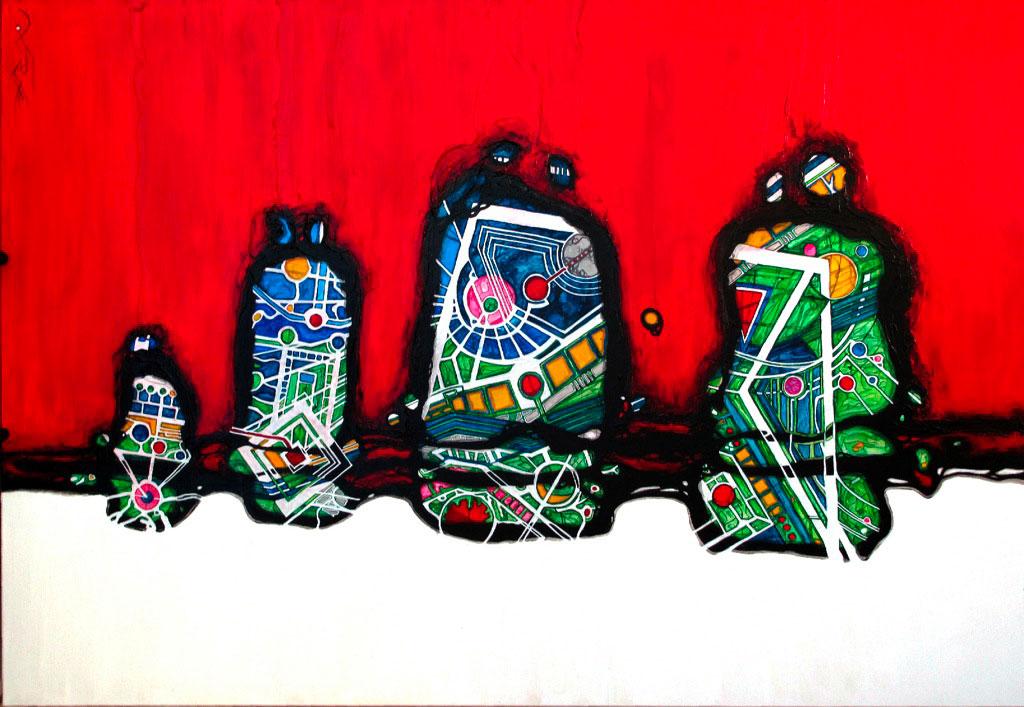 Hypérion on the track of Pandora abstractions interstellaires Peinture acrylique sur panneau alvéolaire