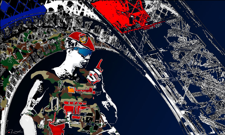 Operation sentinelle tour Eiffel 3ème RPIMA Armée de terre Digraphie 70x 50 sur iPad Peintures armée de terre