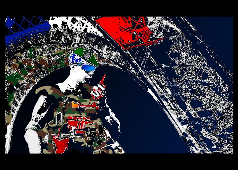 Operation sentinelle tour eiffel Rep in action Armée de Terre Digraphie 70x 50 sur iPad Peintures armée de terre