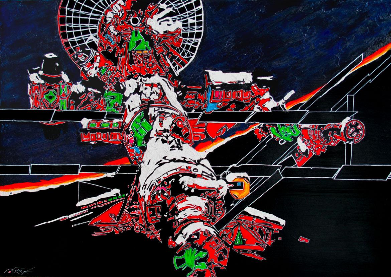 Peintures air et espace Our dream in progress Air & Espace Acrylique sur panneau alvéolaire 104 x 73