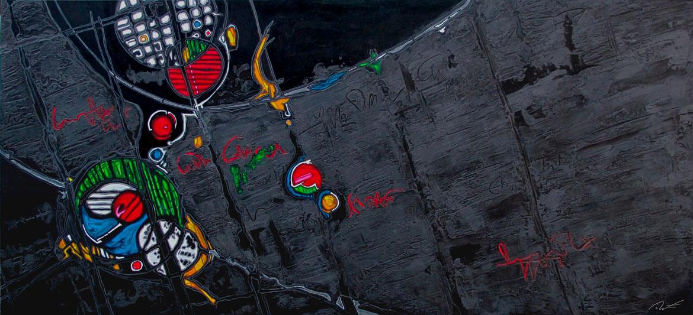 D.Favreul THX-1133 abstractions interstellaires Acrylique sur panneau alvéolaire
