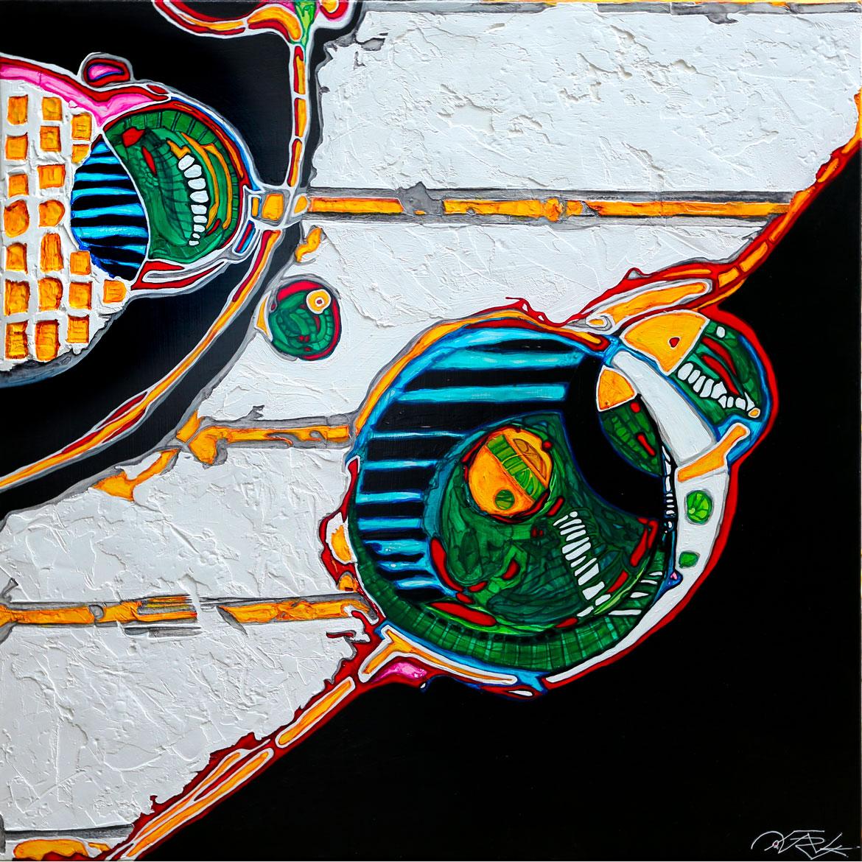 abstractions interstellaires Acrylique sur panneau alvéolaire -favreul
