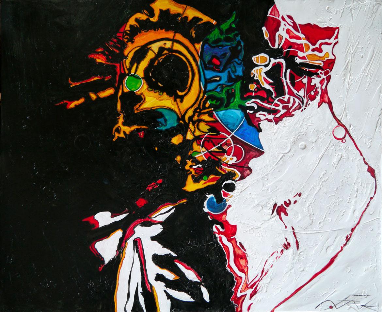 """Freddy Hubbarb """"keep your soul together"""" Live on stage acrylique sur panneau alvéolaire 100x83"""