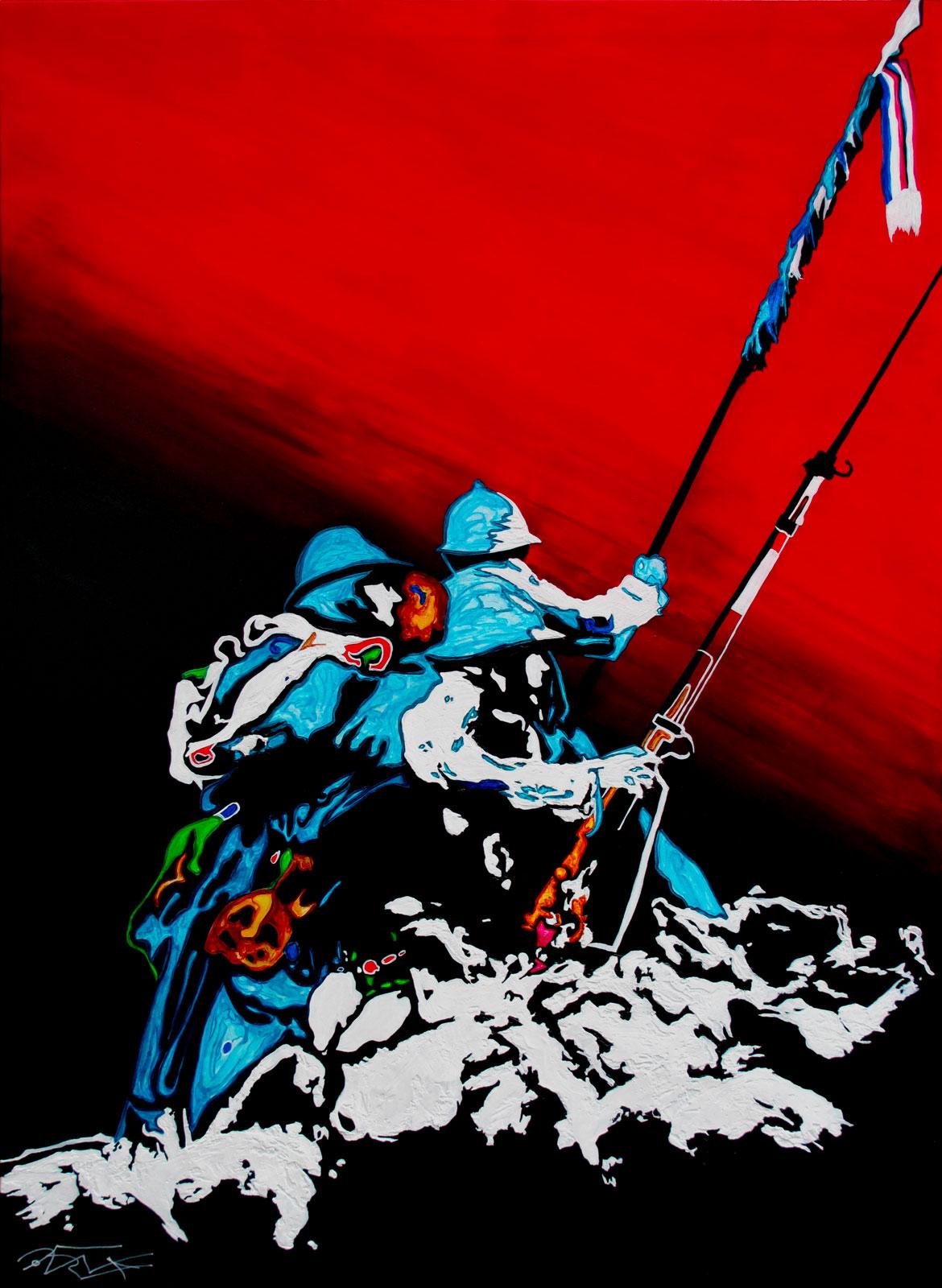 Leurs dernières secondes Armée de terre Acrylique sur panneau alvéolaire 100x73 Peintures armée de terre