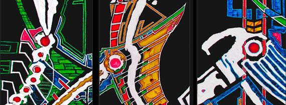 Vers la galerie Riders Dominque favreul Artiste peintre, peintures acryliques et digraphies