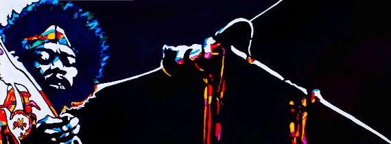 Live on stage- Jimi Hendrix - Acrylique sur panneau alvéolaire