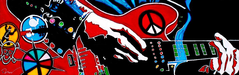 """""""I am going home"""" Alvin Lee - Ten years after live in Woodstock 1969-Acrylique sur panneau alvéolaire"""